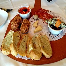 Procuitto, Grilled Calamari, Kobe Meatballs 4 Cheese Sauce - Bistecca Italian Steakhouse & Wine Bar, Edmonton, AB