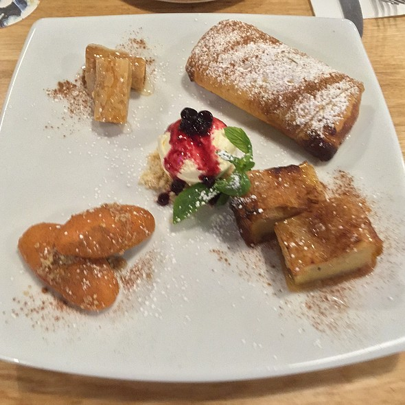 Greek Tasting Plate For 2 (Salted Caramel Bougatsa, Galaktoboureko, Baklava, Greek Biscuits, Vanilla Ice Cream)