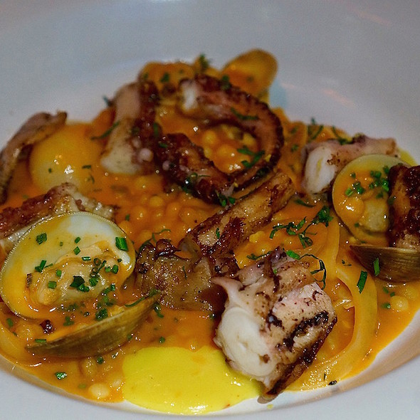 Grilled Spanish octopus, clams, couscous @ Goose And Gander