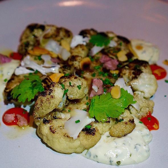 Wood roasted cauliflower, cilantro, spiced yogurt, chili, almonds @ Goose And Gander