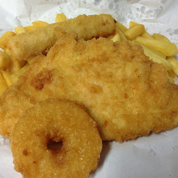 Seafood for One $9.00 - Fish, Chips, Pineapple