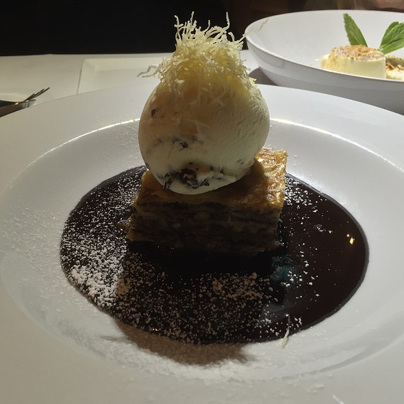 Bittersweet Chocolate Baklava (Toasted Pecan Nuts And Bittersweet Chocolate Layered Between Golden Phyllo Pastry, Rich Chocolate Sauce Drizzle, Grand Marnier Truffle Ice Cream)