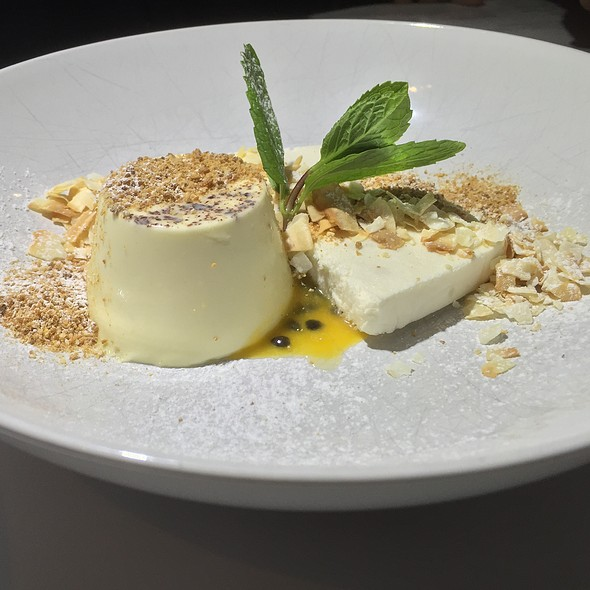 Rose Water Scented Panna Cotta (Passion Fruit Coulis, Coconut Semifreddo)
