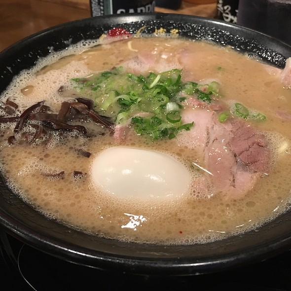 Tonkotsu Ramen  Not to be confused with tonkatsu (breaded porkchop) this Tonkotsu Ramen is one of the main types of ramen broth, along with Shio, shoyu and miso broth. This tonkotsu broth is made with pork bones boiled for hours which renders the broth cl