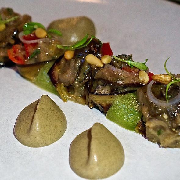 Eggplant, pickled cucumber, oregano, pepper, flatbread, za'atar @ Mourad
