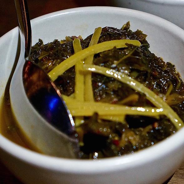 Braised kale, olive, citrus @ Mourad