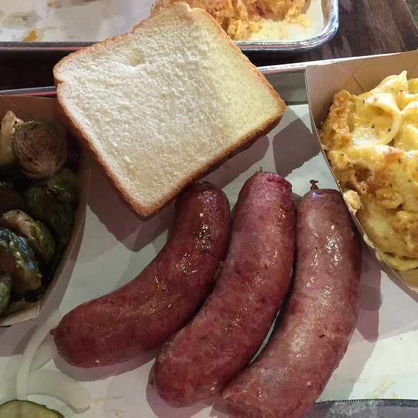 Sausage Plate With Brussel Sprouts And Mac And Cheese @ Swig & Swine