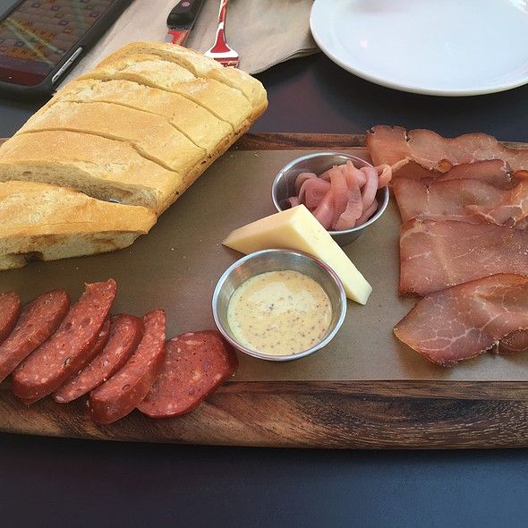Beer Board : Venison And Pork Sausages, Olives, Warm Potato Salad, Asian Pear, Meats And Cheeses And Pretzel Bread