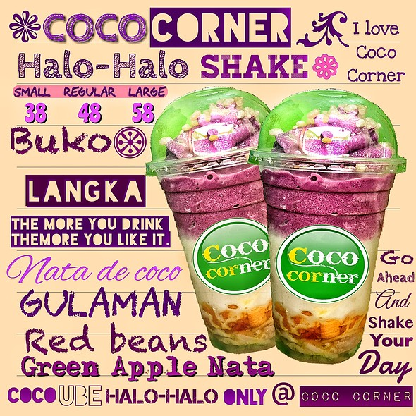 Halo - Halo  The quintessential Filipino dessert that's always in the limelight at any place in the Philippines (and beyond). Halo-halo's ingredients at wikipedia states: Ingredients include boiled kidney beans, garbanzos, sugar palm fruit (kaong), coconu
