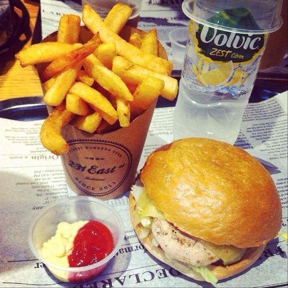 Chicken Cheeseburger And Fries