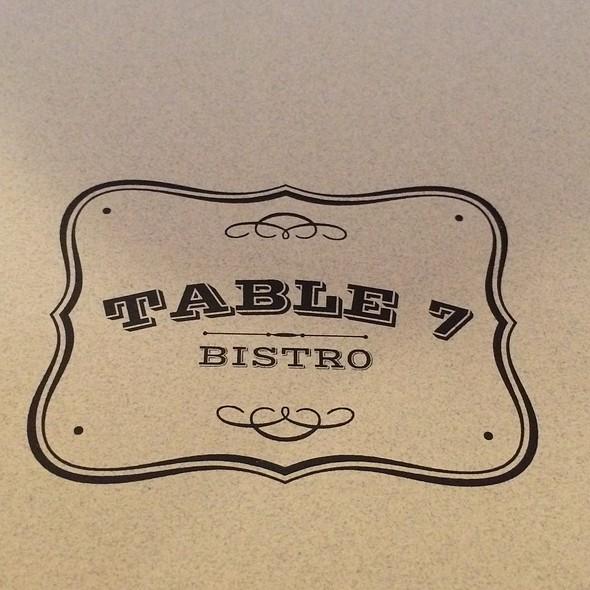 Menu - Table 7 Bistro, Houston, TX