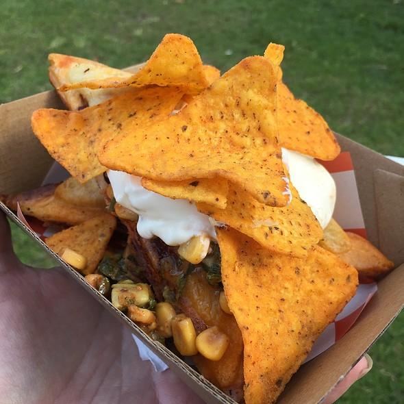 Dirty Sanchez Jaffle - Chicken Chorizo And Beans With Corn Salsa And Cornchips @ Jaffle Shmaffle