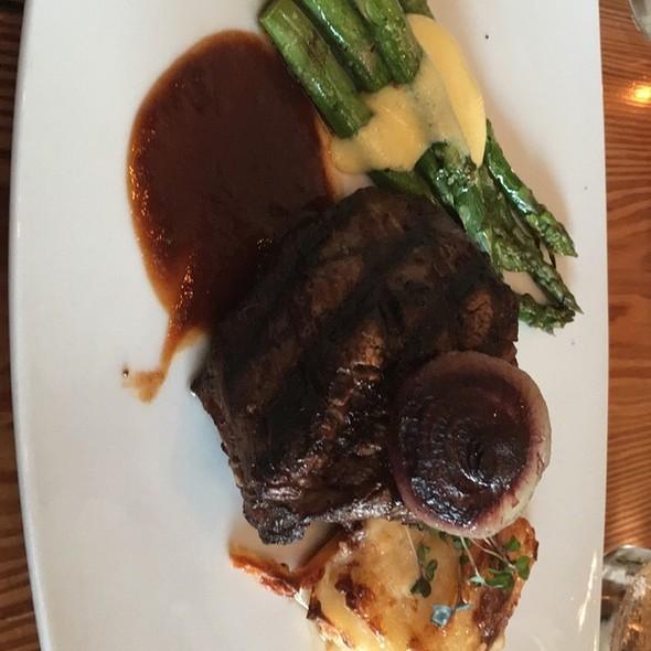 Beef Tenderloin   Grilled beef tenderloin, gruyere, onion & yukon gold potato gratin, asparagus, braised cipollini onions, mushrooms, bearnaise, roasted shallot sauce - Bliss Restaurant, San Antonio, TX
