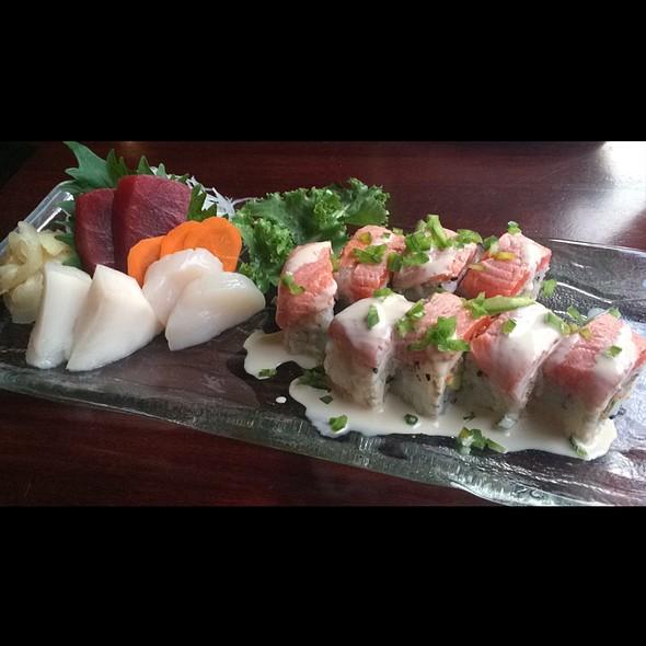 Magic Roll, White Tuna Sashimi, Tuna Sashimi, And Scallop Sashimi - Asuka Sushi, New York, NY