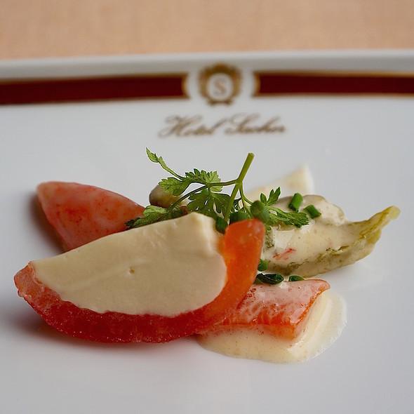 Trout mousse, tomato