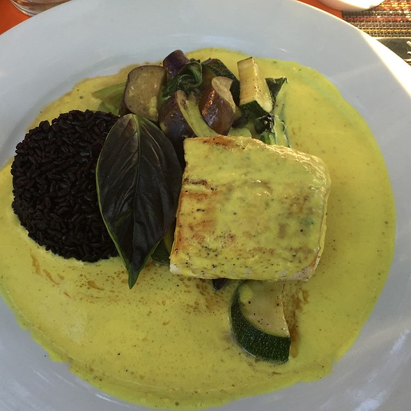 Halibut With Yellow Curry And Black Forbidden Rice