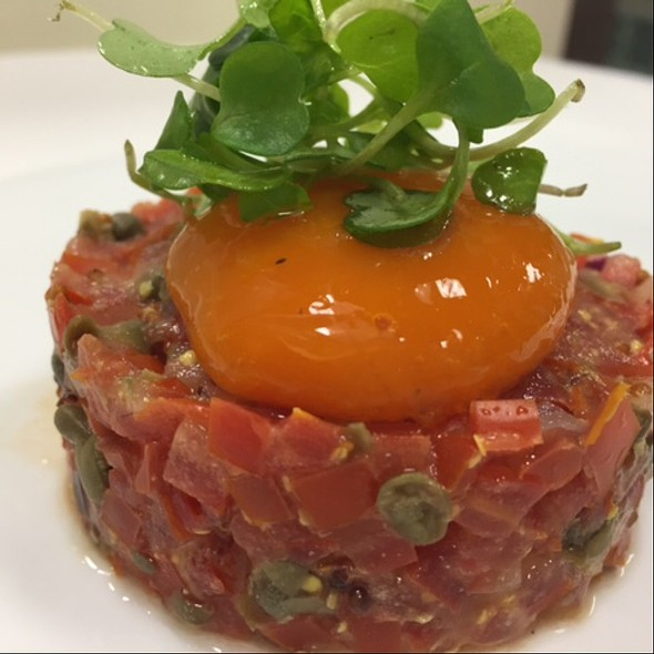 Tomato Tartare, Carrot &Ginger Yolk - Basil's, Minneapolis, MN