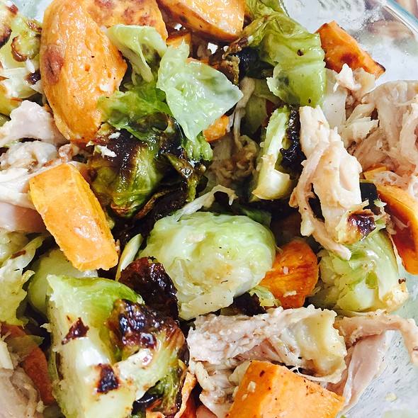 Roasted Sweet Potatoes, Brussel Sprouts, Chicken, And Garlic Aioli @ Home