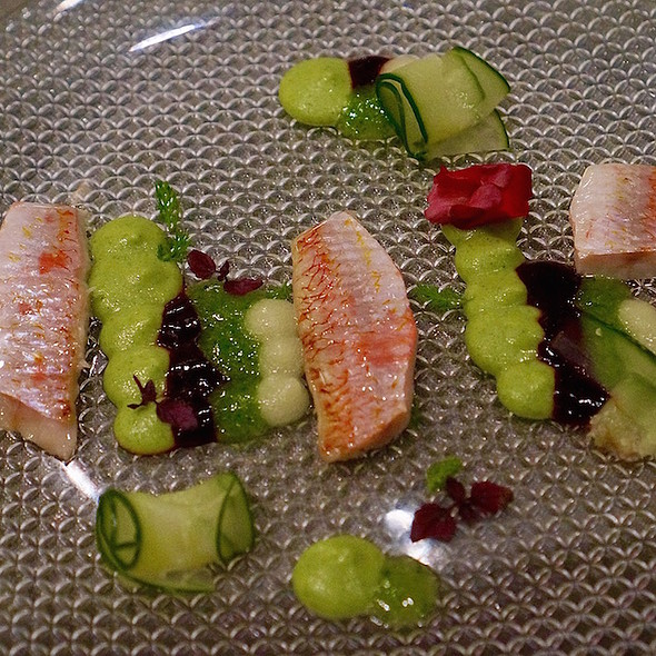 Red mullet, zucchini, cucumber, blackberry, green apple