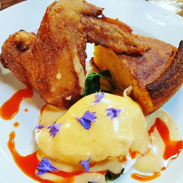 Triple Fat Fried Chicken Wing with Cornbread, Collard Greens, Poached Egg and Hotsauce Hollandaise Sauce