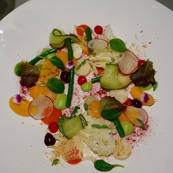 Vegetable variations -celery, turnip, zucchini, carrot, quinoa, green beans, lentils, pickled cappuccio cabbage, tomatoes @ Venissa