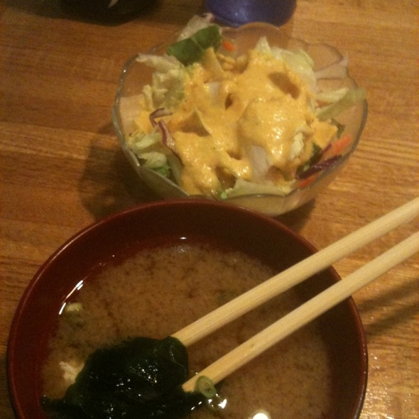 Miso Soup & Salad With Carrot Ginger Dressing @ Sakura Bana Japanese Restaurant