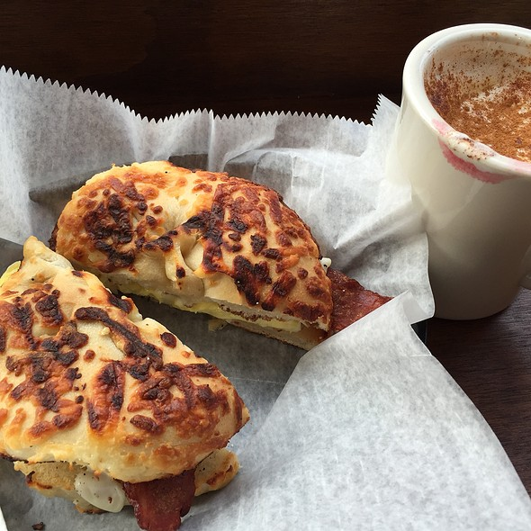 Egg Bacon Asiago Bagel And Chai Latte