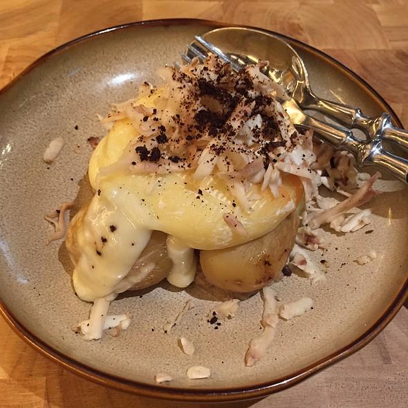 Baked Cows Milk Cheese, Salt Baked Potato, Shaved Mushroom