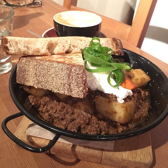 Savory Mince & Poached Eggs @ Brew Espresso & Wine Bar