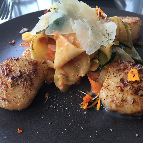 Pan-Seared Scallops And Pappardelle Pasta @ Cafe Modern