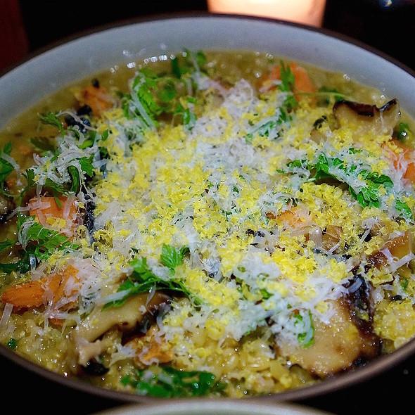 Farro verde, maitake mushrooms, butternut squash, aged beef broth