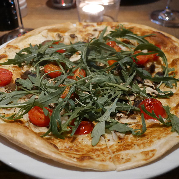 Tarte Flambe with Mushrooms, Rocket, Tomatoes @ ROCAILLE Café Bistrot WineBar