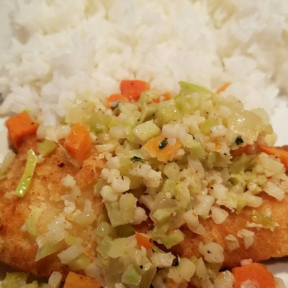 Panko Breaded Tilapia Filet With Lemon Garlic Veggies And Rice