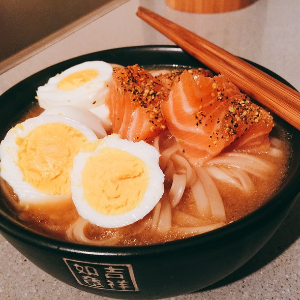 Noodles, Salmon And Eggs In Miso @ ./lsd Cooking Pot