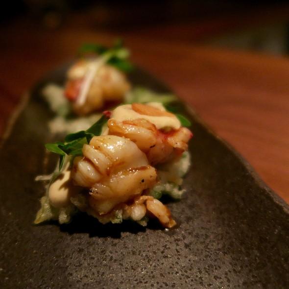 Grilled Lobster With Charred Tomato, Ponzu Aioli, And Shiso Tempura @ o ya