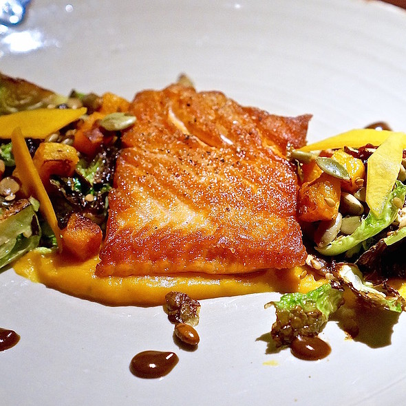 Wild King salmon, Brussels sprouts, black garlic, butternut squash, pumpkin seed granola, cranberries