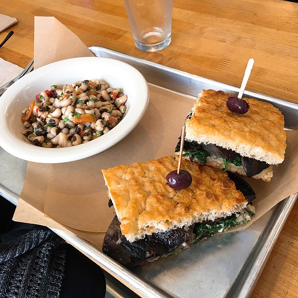 Portobello Mushroom Sandwich And Black Eyed Pea Salad