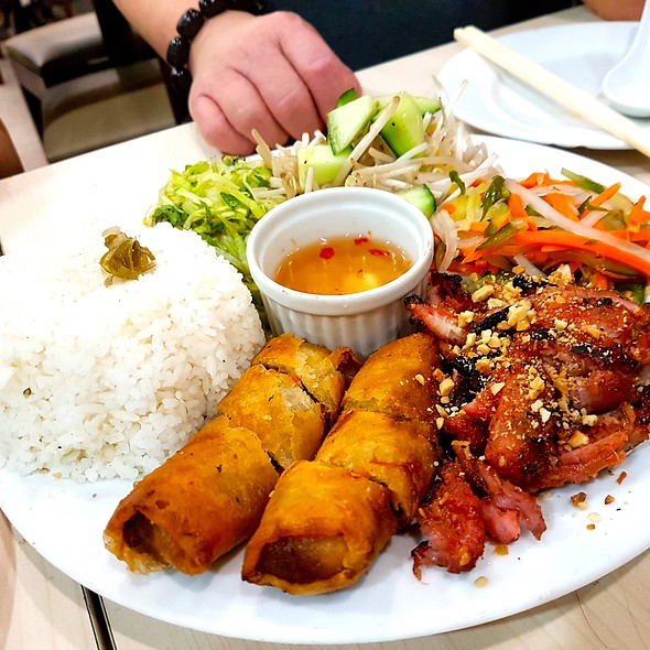 BBQ Pork Rice Plate with Vegetarian Fried Spring Rolls @ Trà Vinh Authentic Vietnamese Noodles