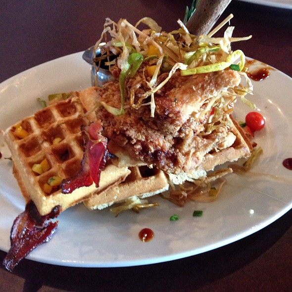 Sage Fried Chicken And Bacon Waffle With Fried Leeks.