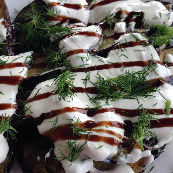 Grilled Zucchini, Dill, Balsamic Drizzle & Sour Cream