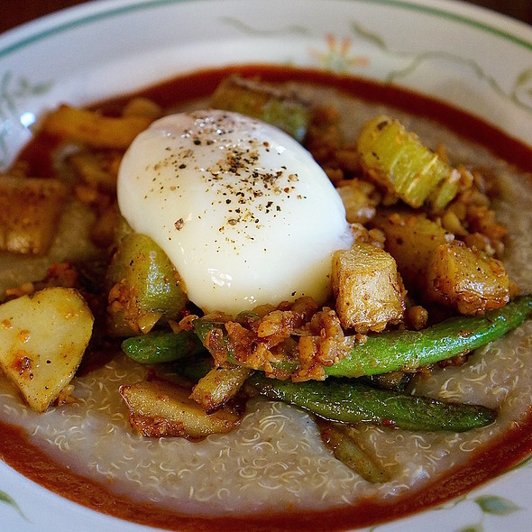 Fermented quinoa grits, slow poached egg, sweet pepper sauce, fingerling potatoes, celtuce, green beans, spiced chickpeas