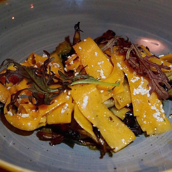 Maitake mushrooms a la plancha, butternut squash, ricotta salata, almonds @ Bad Hunter