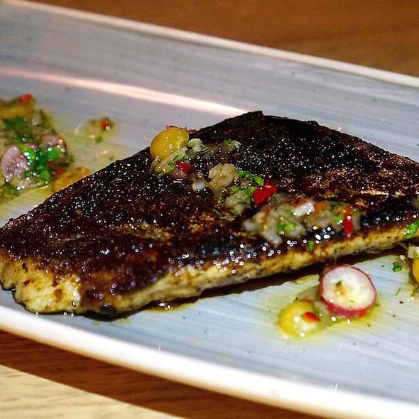 Spanish mackerel a la plancha, ground cherry, radish, sherry vinegar @ Bad Hunter