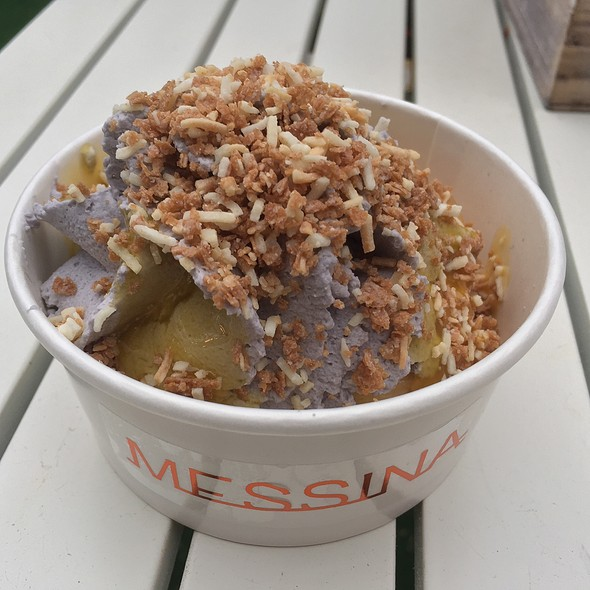 Turron Not (Deep Fried Banana & Brown Sugar Gelato Wrapped In Filo Pastry Ube Cream & Kalamansi Purée Coconut Crunch)