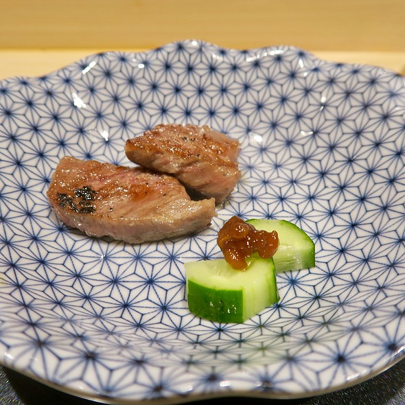 Miyazaki Beef With Cucumber And Miso Leaf Paste
