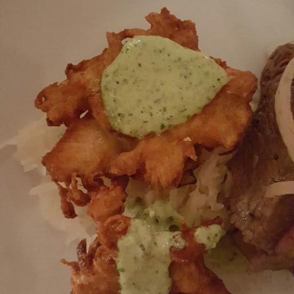 Grune Sosse Mahi Mahi Fish Cakes With Spinach and Herb Sour Cream