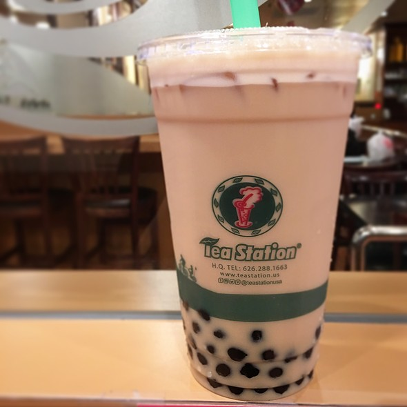 Almond Milk Tea With Boba @ Tea Station