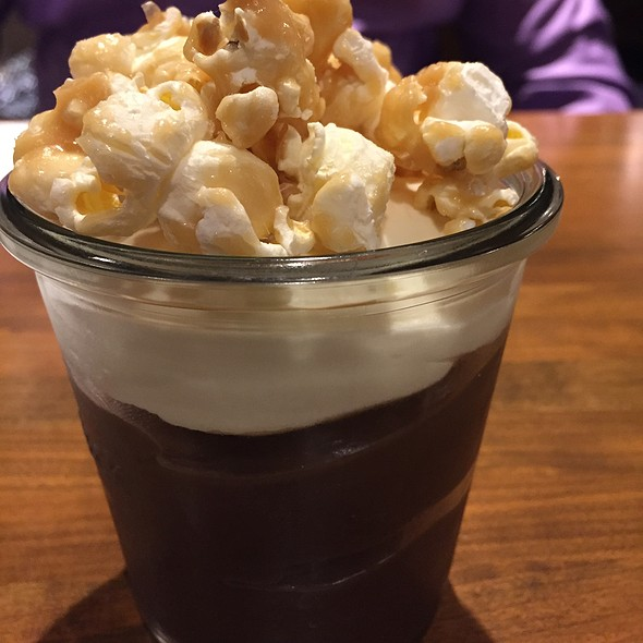 Chocolate Pudding With Whipped Cream And Caramel Popcorn @ Mabel's BBQ