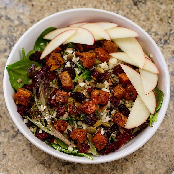 Autumn salad –apples, roasted butternut squash, sunflower and pumpkin seeds, cheddar, dried cranberries