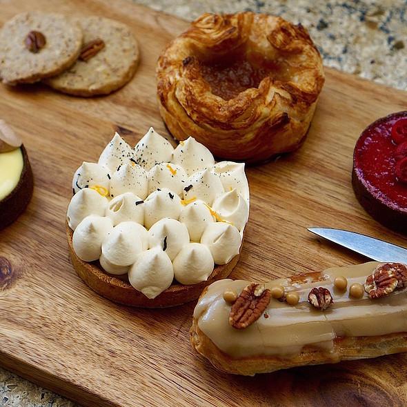 Pastries –maple pecan sable cookies, apple kougin-amann, cranberry gingerbread tart, maple éclair, chestnut tart, passion fruit dark chocolate tart
